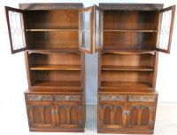 Pair of Large Oak Bookcase Cabinets by Old Charm